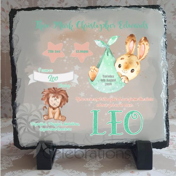 Leo - Baby Star Sign Keepsake Rock Slate